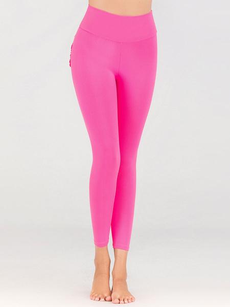Milanoo Women Yoga Pants Pink Yoga Leggings
