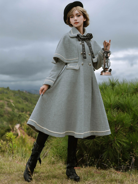 Milanoo Academic Lolita Coats Dark Navy Overcoat Long Sleeve Polyester Lolita Outwears