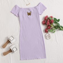 Lettuce Trim Embroidery Butterfly Rib-knit Dress