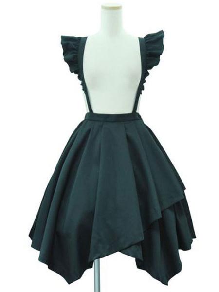 Milanoo Sweet Lolita SK Black Cascading Ruffles Faldas Lolita