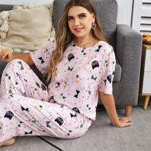 Plus Letter And Cartoon Graphic Pajama Set