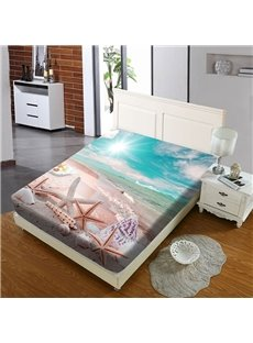 Starfish And Shells By The Sea Reactive Printing 1-Piece Polyester Bed Cover / Mattress Cover