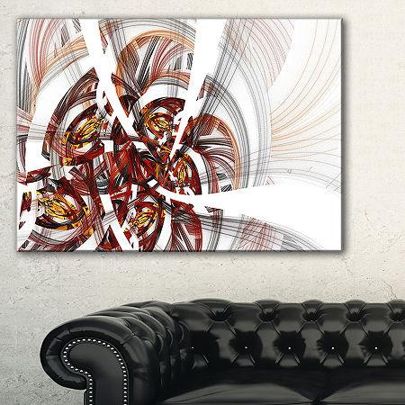 Designart Brown Symmetrical Fractal Flower FloralCanvas Art Print, One Size , Black
