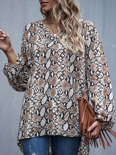 Milanoo Women Blazer Chiffon V Neck Long Sleeve Printed Casual Shirt