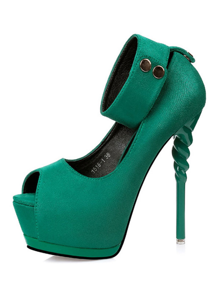 Milanoo Burgundy Sexy Shoes Women Platform Peep Toe Ankle Strap Sandal Shoes High Heel Pumps