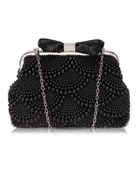Milanoo Evening Clutch Bags Bows Artwork Pearl Kiss Lock Closure Chic Special Occasion Handbags