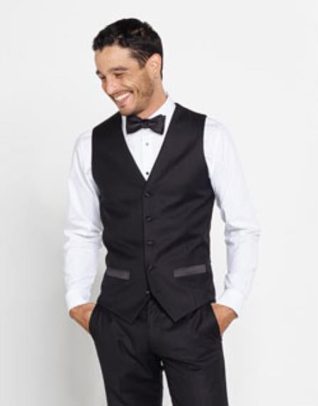 Mens Tuxedo Shirt & Bowtie + Black Pants + Black Vest