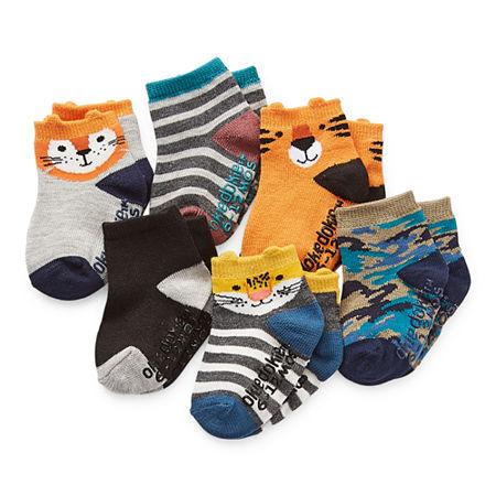 Okie Dokie Baby Boys 6 Pair Crew Socks, 0-6 Months , Gray