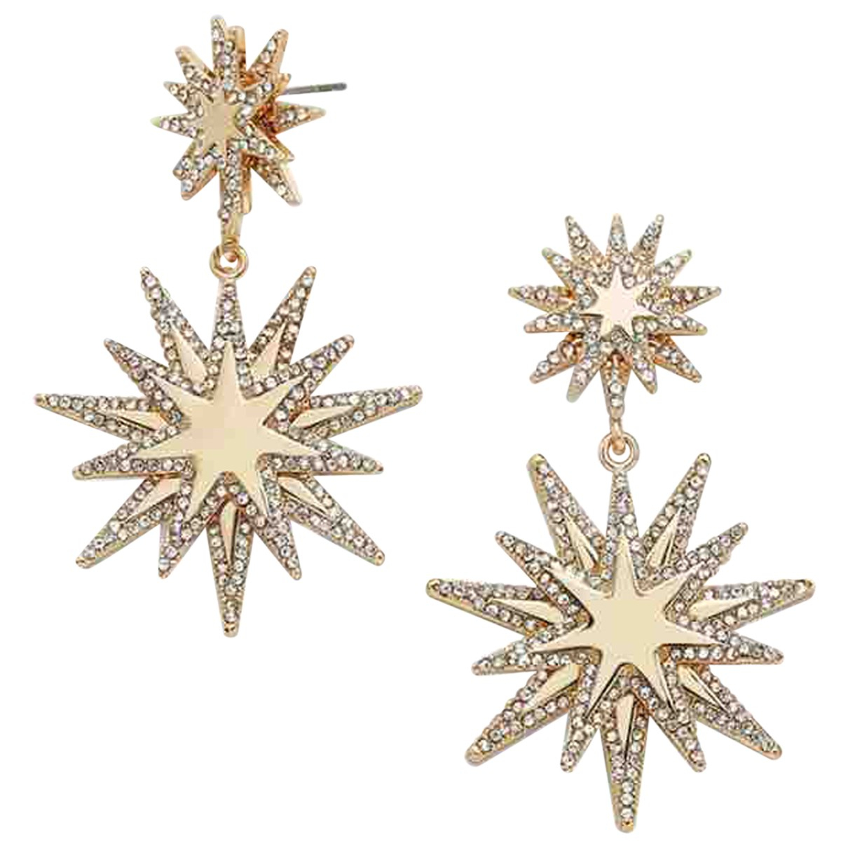 Non Signé / Unsigned Motifs Etoiles Gold Metal Earrings for Women N