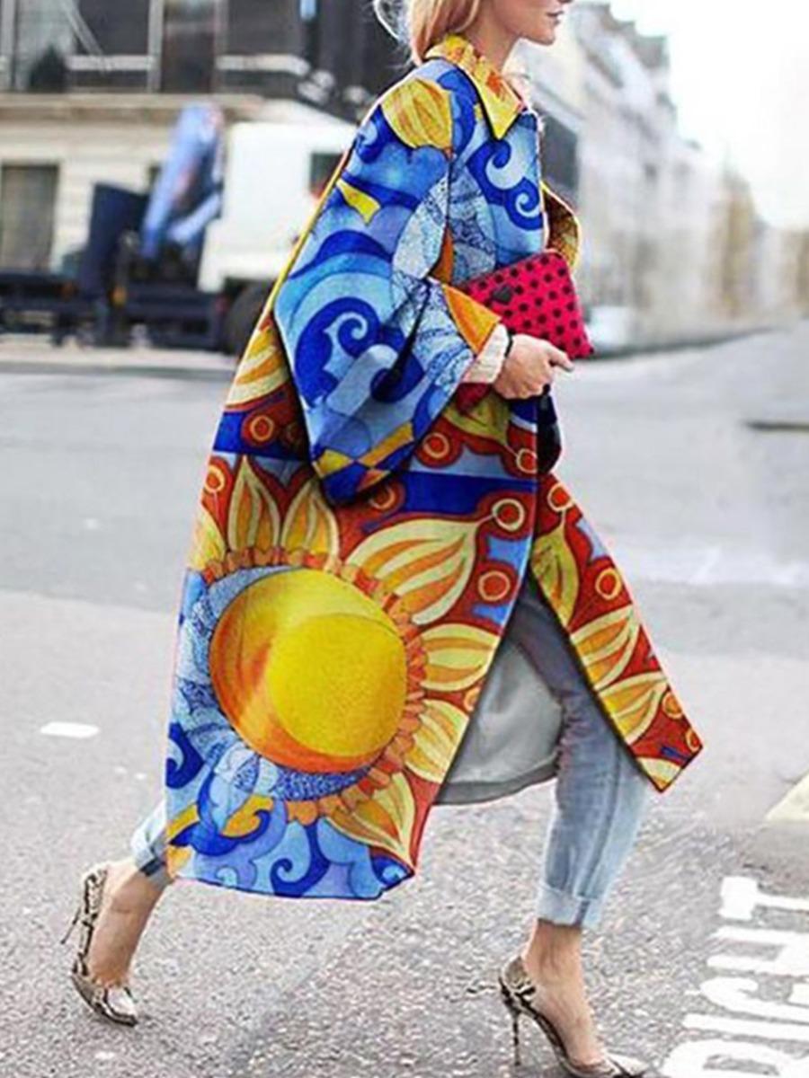LW lovely Trendy Turndown Collar Print Multicolor Long Plus Size Trench Coat