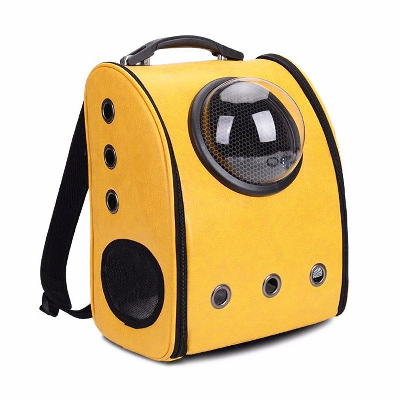 PU Double-shoulder Pet Bag Portable Dog Bag Transparent Cat Bag Pet Breathable Bag Space Capsule Folding Bag