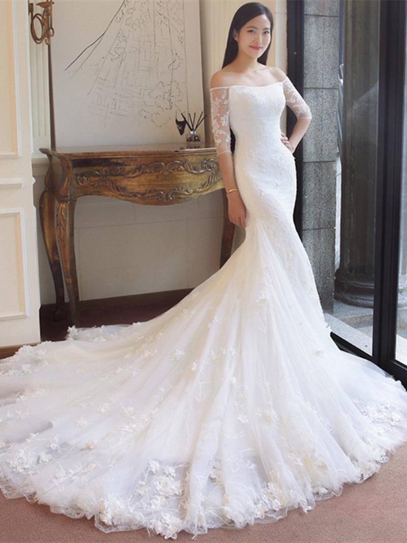Ericdress Off-the-Shoulder Beading Appliques Mermaid Wedding Dress