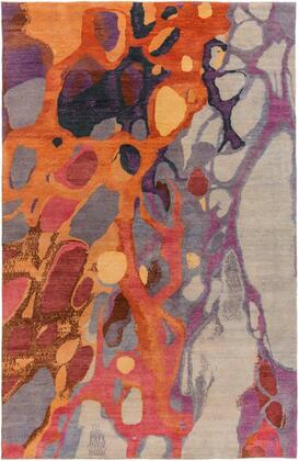 BOL4006-69 6' x 9' Rug  in Dark Red and Rose and Light Gray and Navy and Wheat and Dark