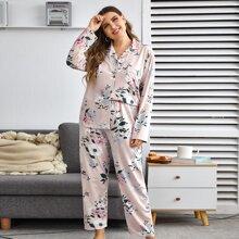 Conjunto de pijama con bolsillo delantero con estampado floral