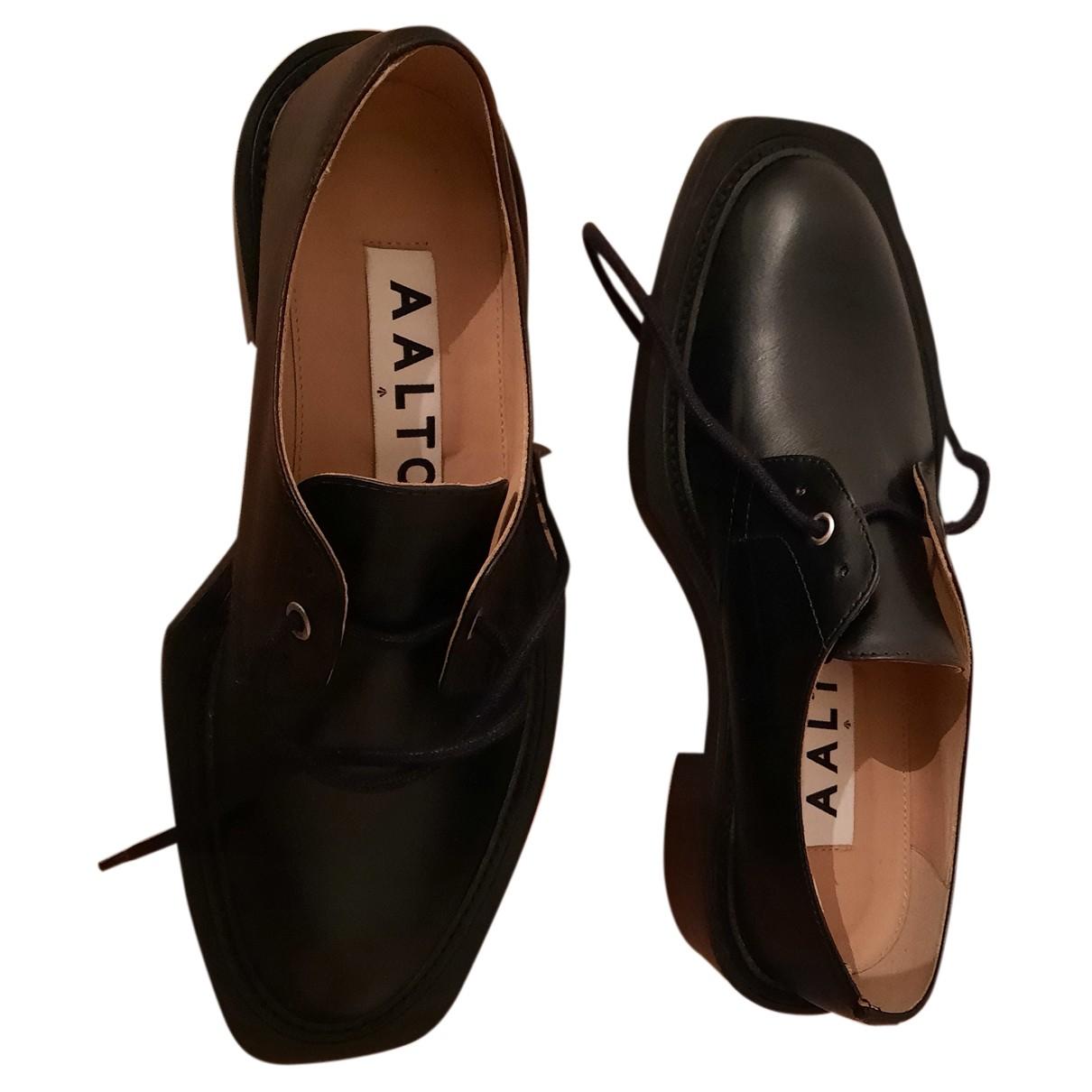 Aalto \N Schnuerschuhe in  Schwarz Leder