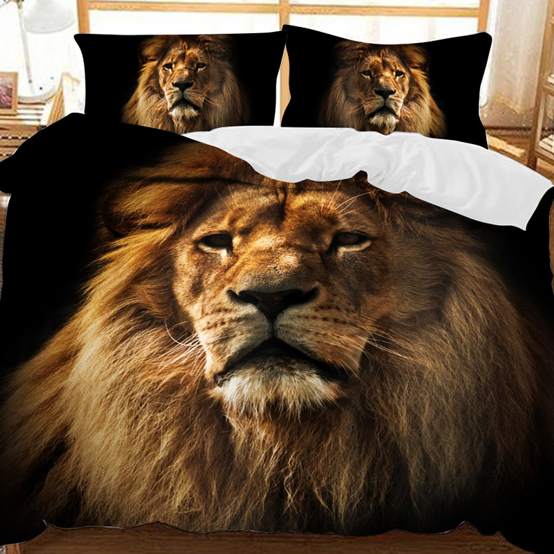 Courageous Lion Soft 3D Printed Polyester 3-Piece Bedding Sets/Duvet Covers