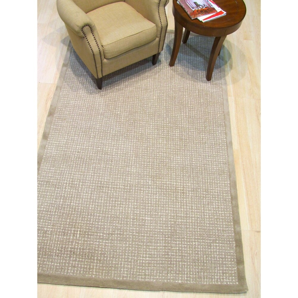 Hand-tufted Timothy Light Brown Wool, Rug - 8'9