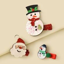 3 piezas horquilla con diseño de muñeca de nieve de Navidad
