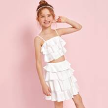 Girls Shirred Back Layered Ruffle Cami & Skirt Set