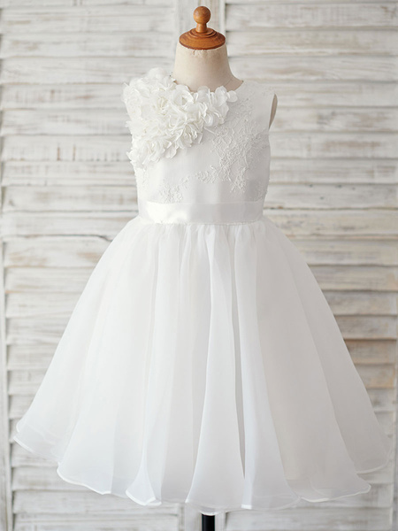 Milanoo Flower Girl Dresses Ecru White Jewel Neck Sleeveless Satin Flower Kids Party Dresses
