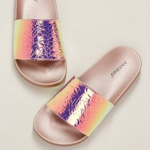 Iridescent Wide Band Footbed Sole Slides