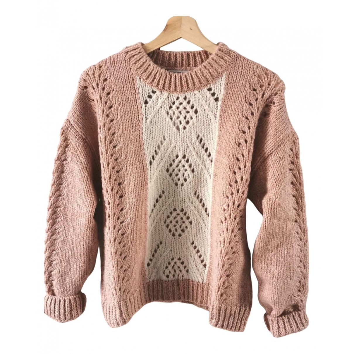 Mango - Pull   pour femme en laine - rose