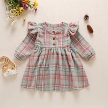 Baby Girl Ruffle Trim Plaid Print Smock Dress