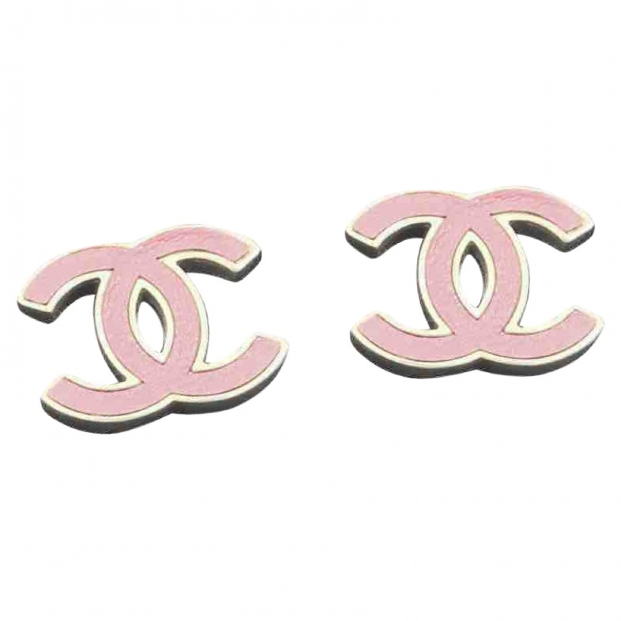 Chanel - Boucles doreilles CC pour femme en cuir - rose