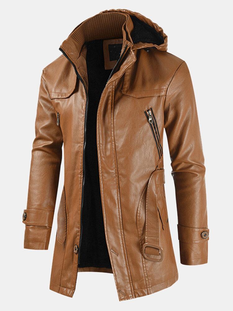 Mens Leather Detachable Hooded Long Sleeve Slim Fit Coats Jackets