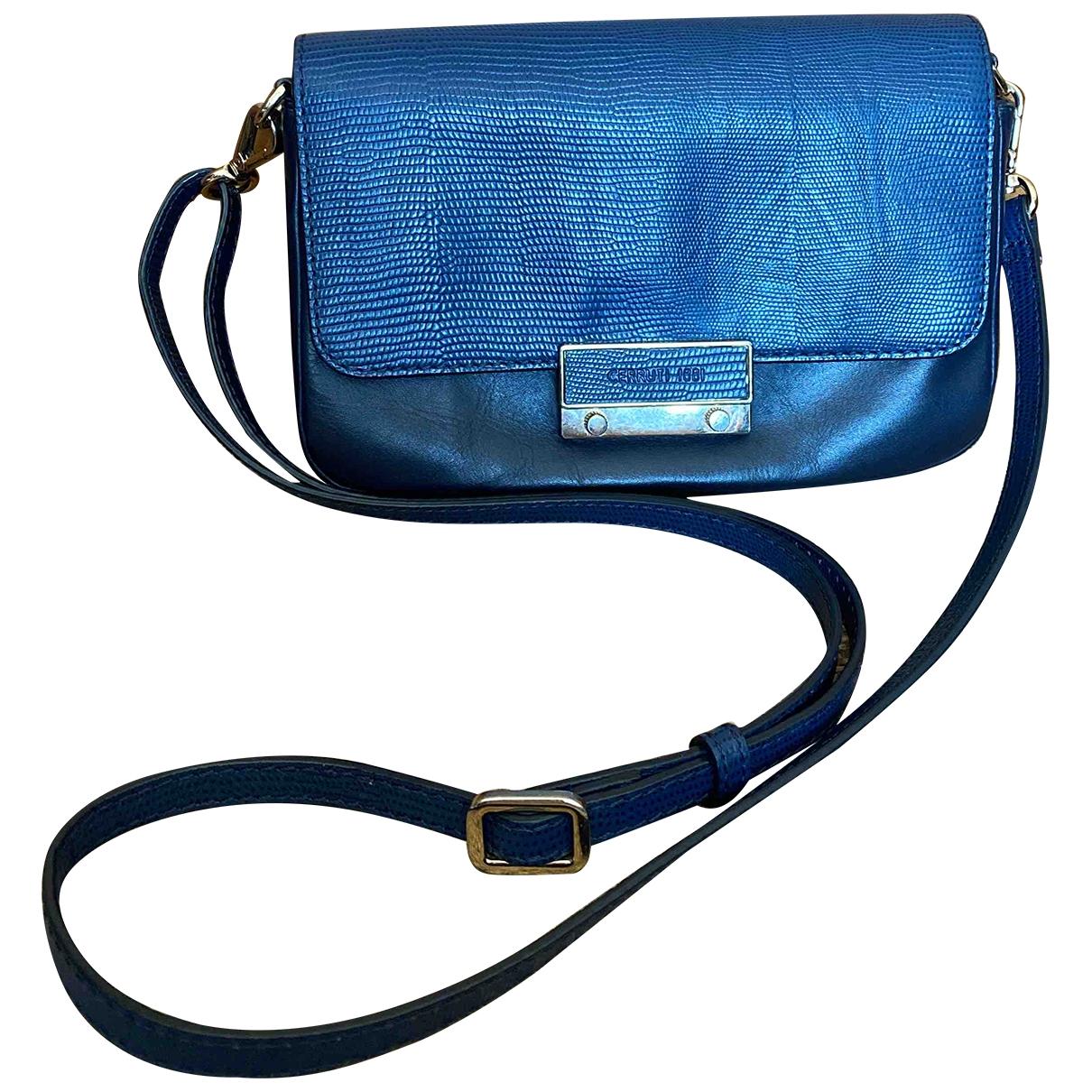 Cerruti \N Clutch in  Blau Leder