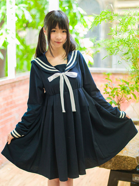 Milanoo Lolita Sailor One Peice Dress Long Sleeve Spring Summer Dress