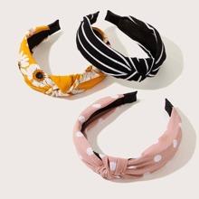 3pcs Striped & Polka Dot Hair Hoop