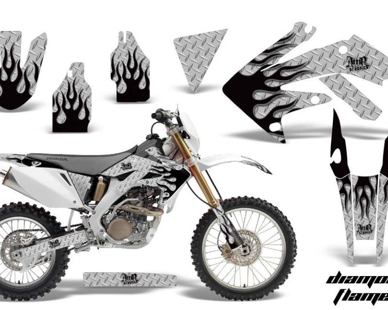 AMR Racing Dirt Bike Decal Graphics Kit MX Sticker Wrap For Honda CRF250X 2004-2017áDIAMOND FLAMES BLACK SILVER