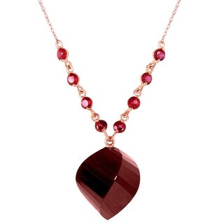16.25 Carat 14K Solid Gold Burn Bridges Ruby Natural Gemstone Necklace (22 Inch - Rose)