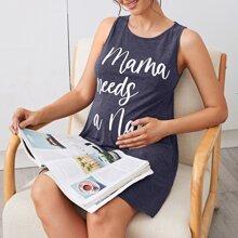 Maternity Slogan Graphic Tank Dress
