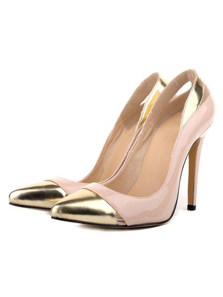 Milanoo Women's Apricot Pumps Pointed Cap Toe Stiletto Color Block Designed Cut Slip On High Heel Shoes