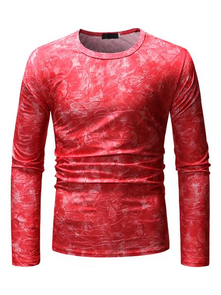 Milanoo Black Men T Shirt Jacquard Print Long Sleeve Casual Undershirt