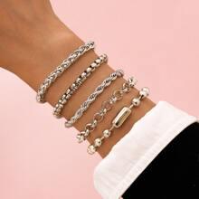5 piezas pulsera de cadena simple