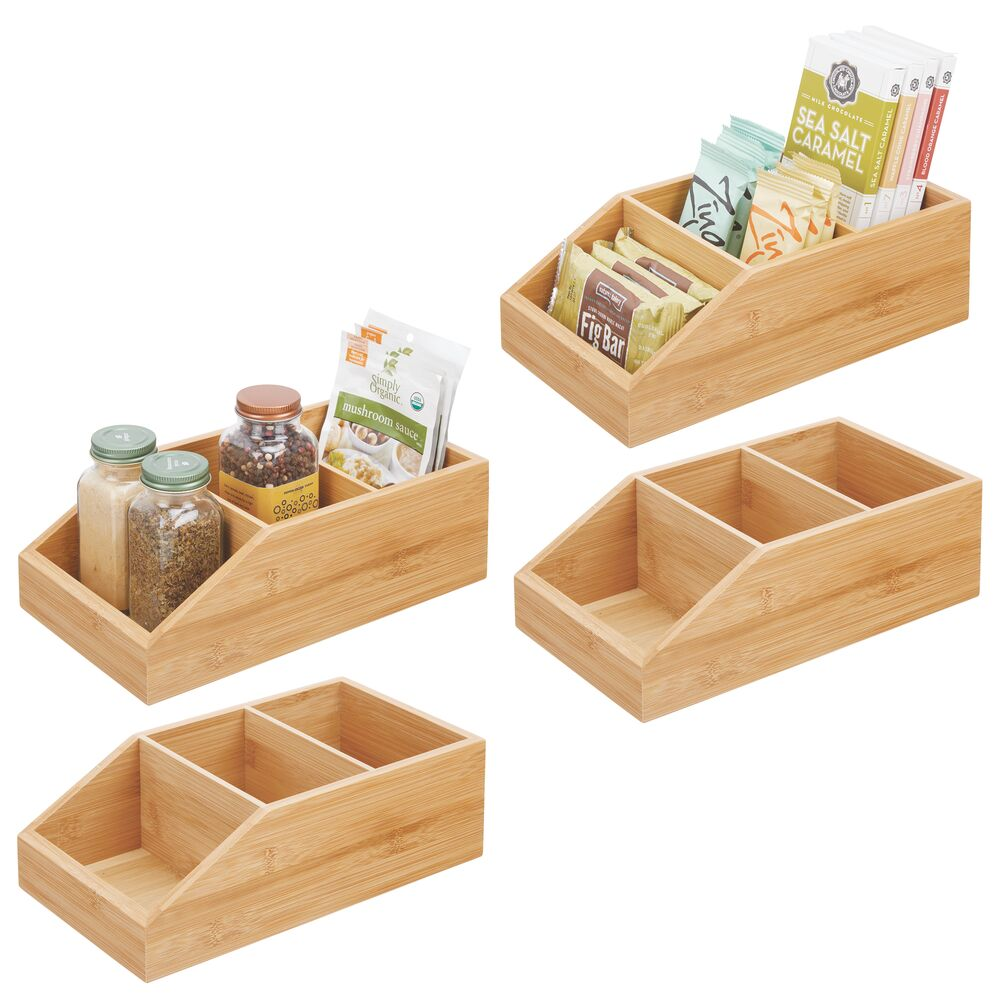 Bamboo Kitchen Pantry Food Organizer Bin, 3 Sections in green, 10 x 6 x 3.5, Set of 3, by mDesign