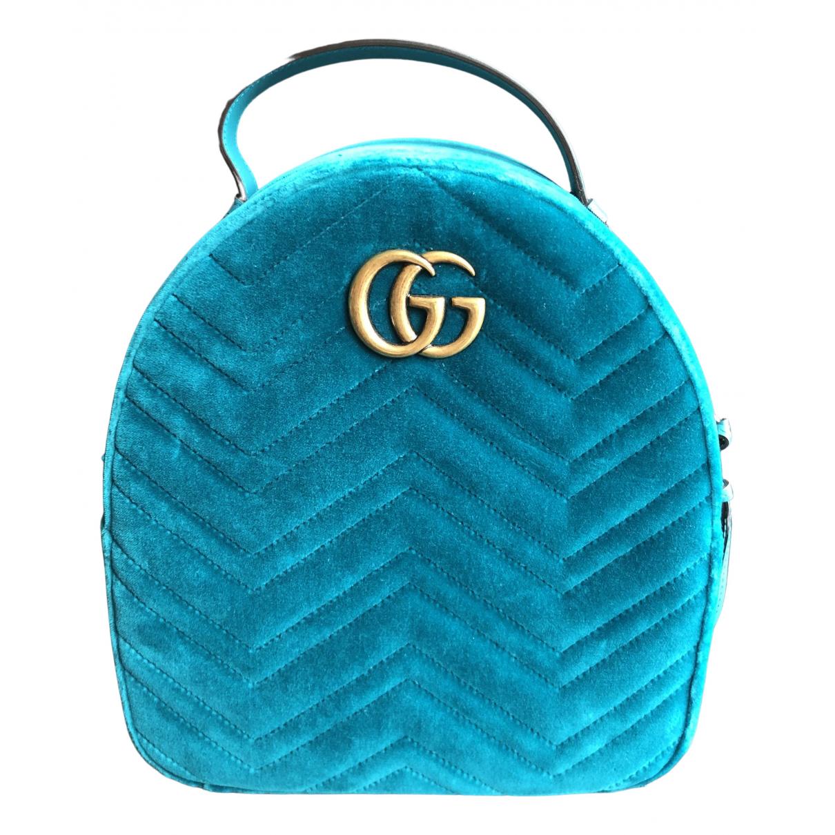 Gucci Marmont Turquoise Velvet backpack for Women N