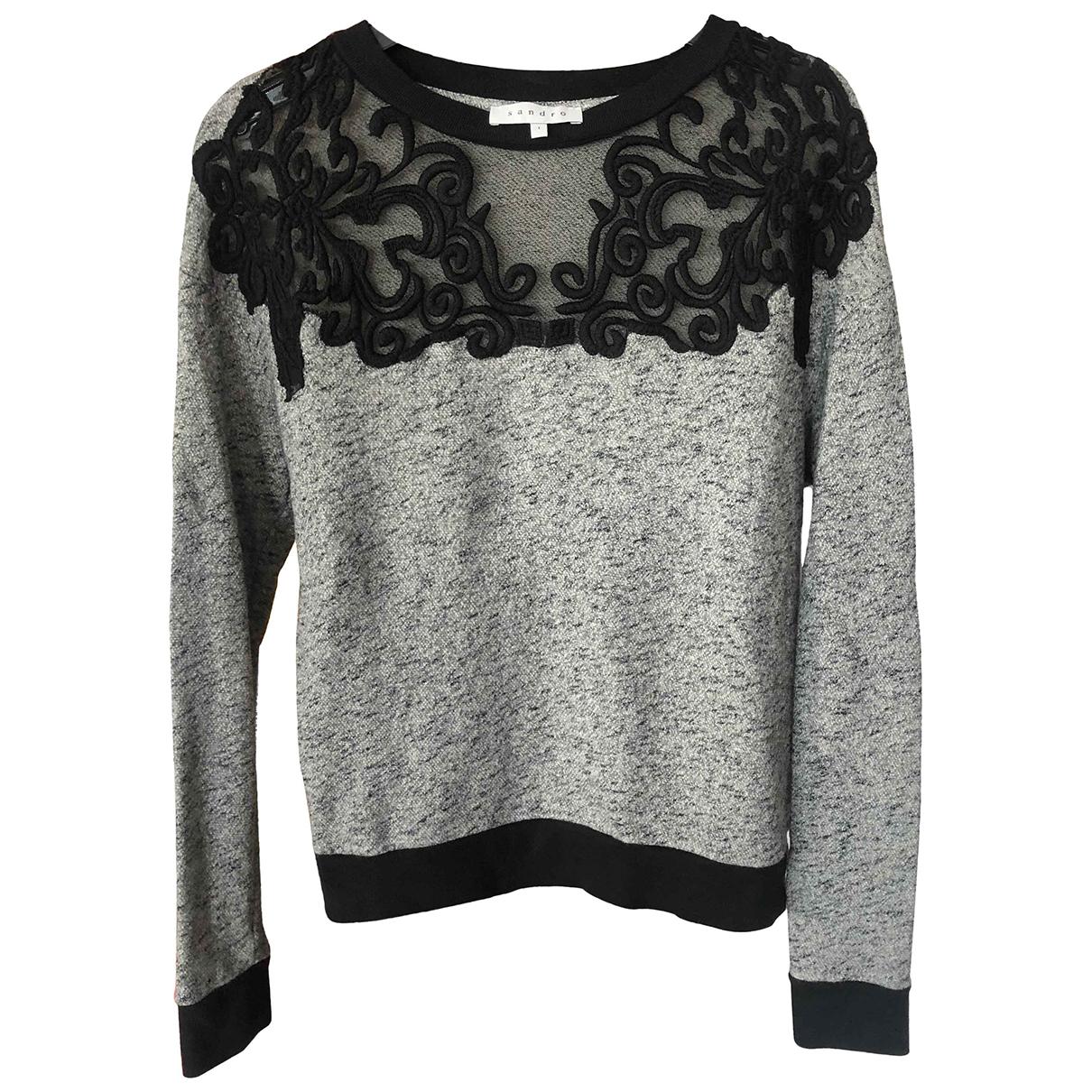 Sandro - Pull   pour femme en coton - gris