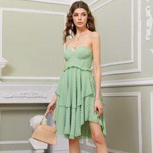 Vestidos Cremallera Liso Menta Verde Romantico