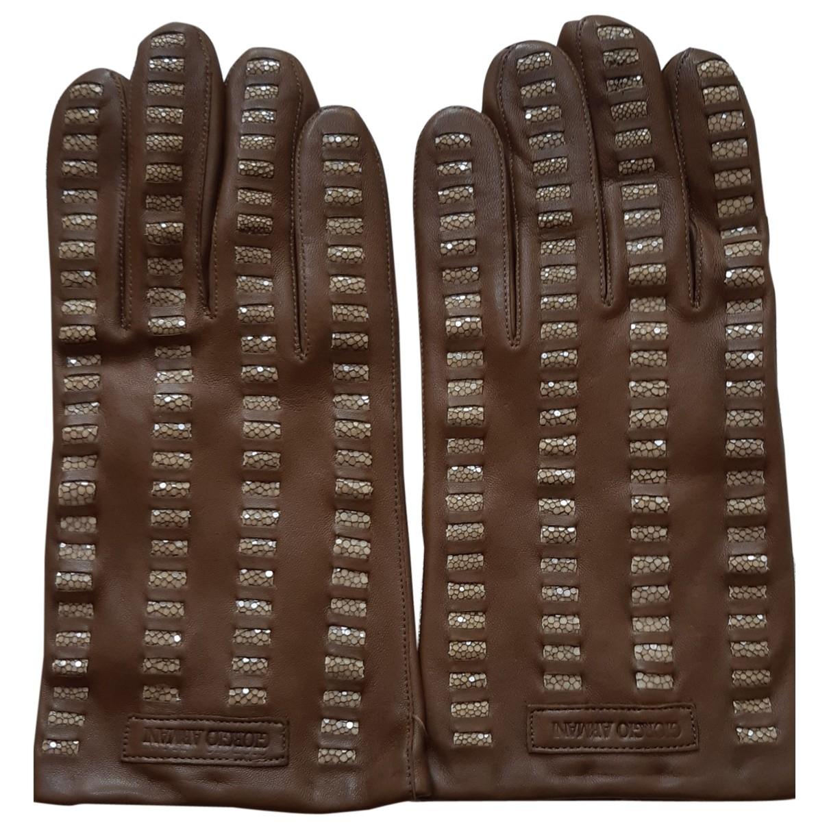 Giorgio Armani \N Khaki Leather Gloves for Men XL International