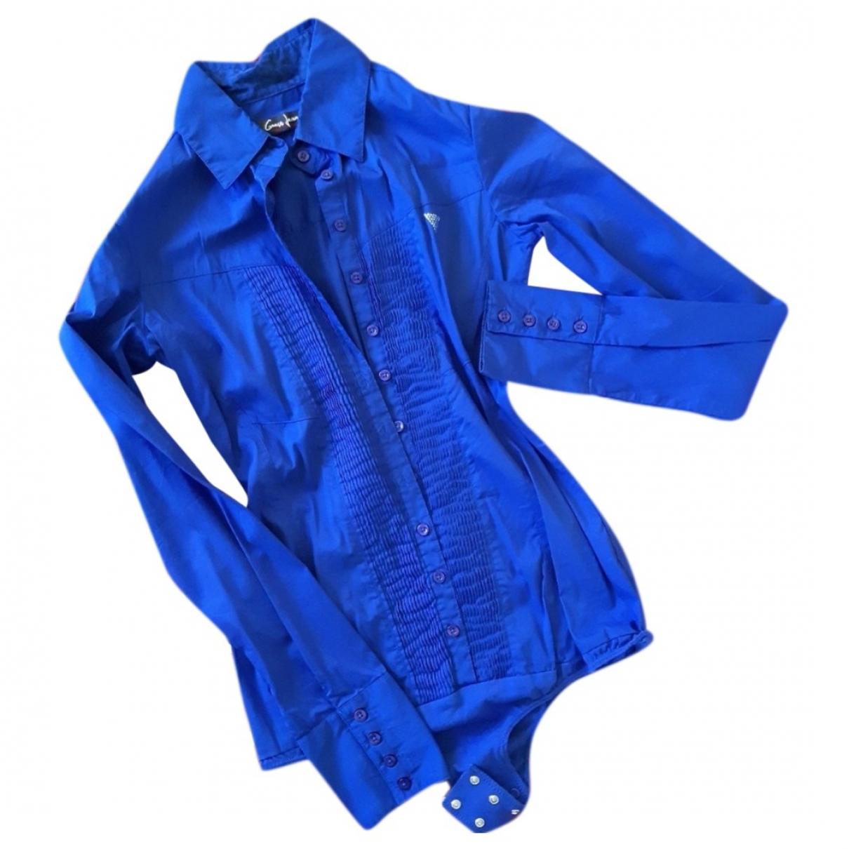 Guess - Top   pour femme en coton - bleu