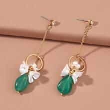 Flower & Rhinestone Decor Drop Earrings