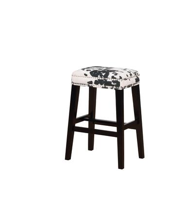 BS101COW01U Walt Collection Bar Height Stool with Backless Design Traditional Style  Solid Wood Frame and Polyester Upholstery in Black Cow Print