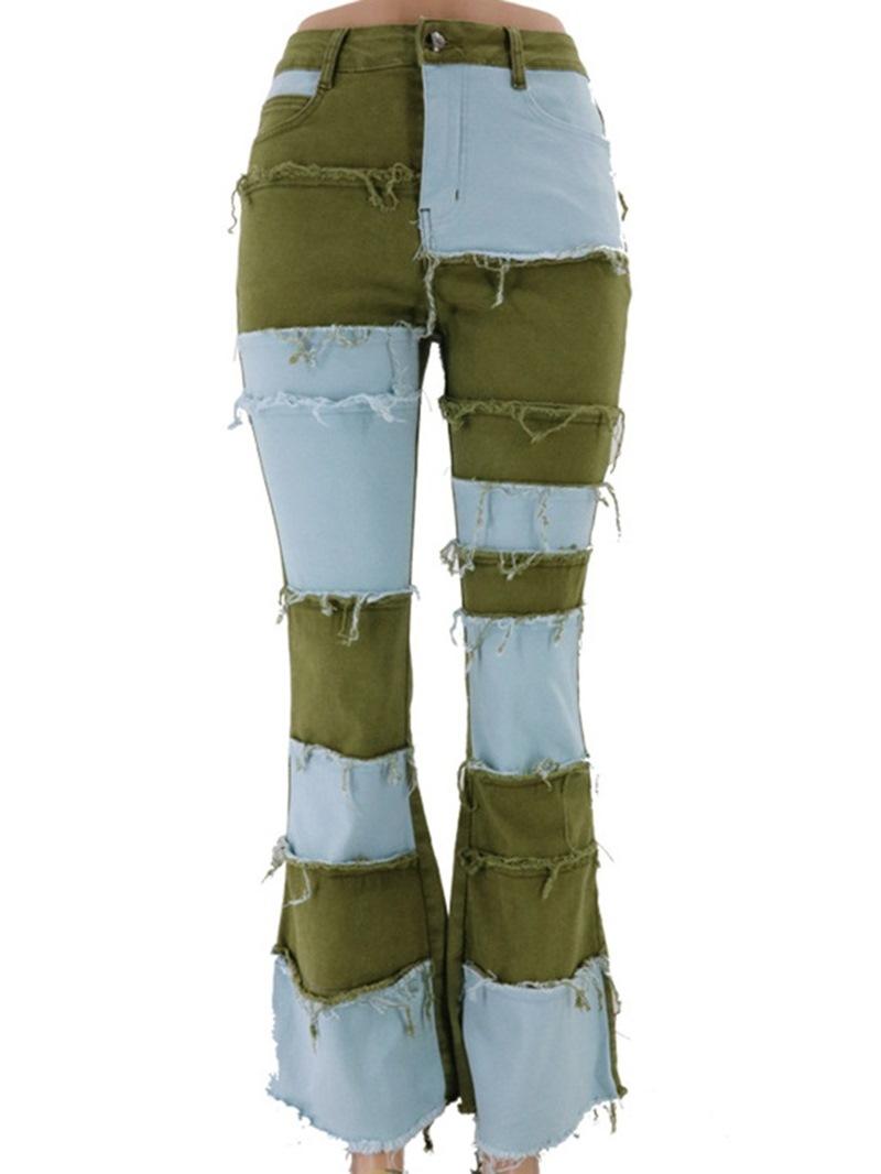 Ericdress Button Color Block Bellbottoms Slim Zipper Jeans
