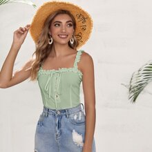 Button Front Frill Trim Knotted Top