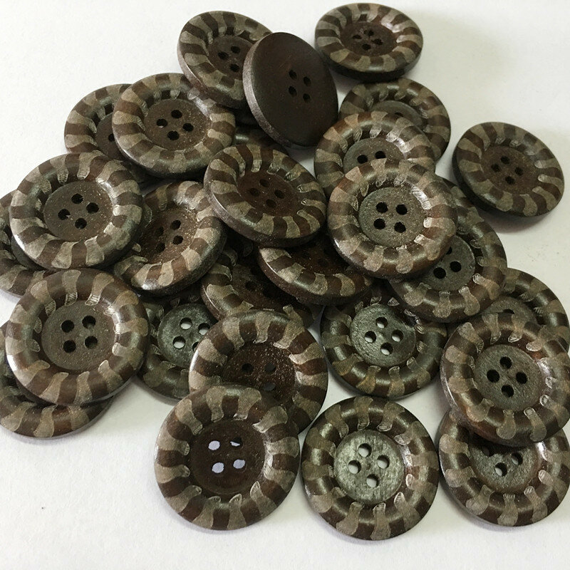 100Pcs Round Wooden Buttons Retro 4 Holes Sewing Buttons Clothes DIY Handcraft