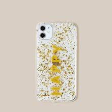 1pc Gold Foil Decor Clear iPhone Case